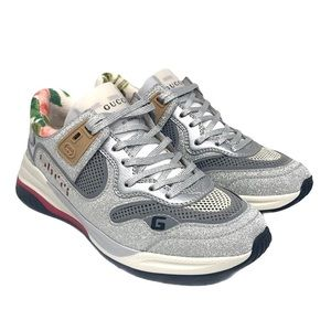 Brand New Gucci Women's Ultrapace Silver Sneakers